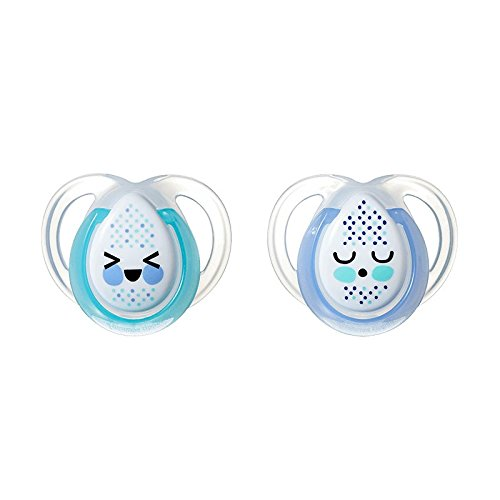 Tommee Tippee Closer To Nature Night Time: 2 x Sucette 0-6m (Blue)