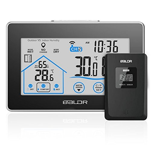 Thermometer Wetterstationen Innen&Außen Temperatur Batteriebetrieben mit Außensensor Hygrometer Digital LCD Anzeige Touchscreen Wetterstation Luftfeuchtigkeit/Thermometer/Zeitanzeige/Batteriebetrieben