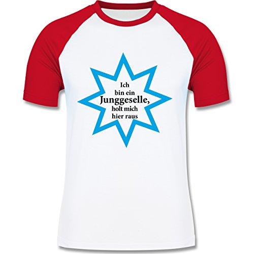 JGA Junggesellenabschied - Junggeselle - Holt mich hier raus - zweifarbiges Baseballshirt für Männer Weiß/Rot