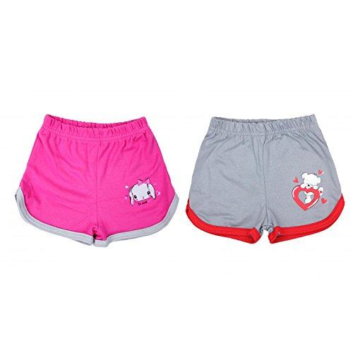 TupTam Baby Mädchen Sommer Shorts mit Print 2er Pack, Farbe: Grau/Pink, Größe: 110 cm