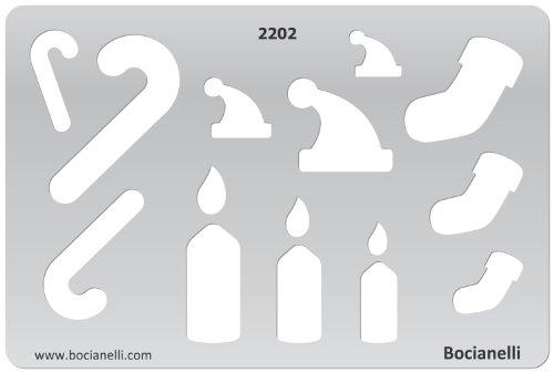 15cm x 10cm Zeichenschablone aus Transparentem Kunststoff für Grafik Design Kunst Handwerk Technisches Zeichnen Schmuckherstellung Schmuck Machen - Weihnachten, Santa Claus, Hut, Candle Symbol (Silber Santa Hut)