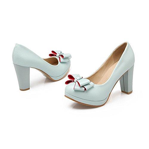 AgooLar Femme PU Cuir Couleur Unie Tire Rond à Talon Haut Chaussures Légeres Bleu