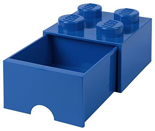 Tiroir en brique LEGO 4 boutons, 1 tiroir, boîte de rangement empilable, 4.7 l , Bleu