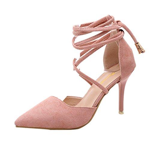 Elecenty Sandalen Damen Schuhe,Schuh Sommerschuhe Shoes Sandaletten Frauen Wildleder High Heels Hoch Absatz Niet Badesandalette Pumps Elegante Knöchelriemchen Strandschuhe Elegant (39, Rosa)
