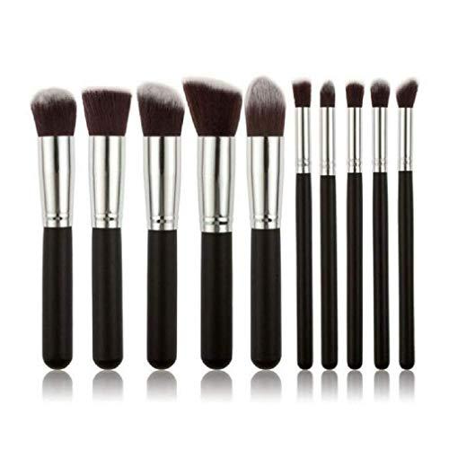 Moeavan10 Stücke Professionelle Make-Up Pinsel Kit Lidschatten Pinsel Basis Augenbraue Make-up Pinsel Fashion-Babes (Silber Schwarz)