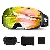 NACATIN Gafas de Esquí 4 en 1, 100% UV400 Protección Doble Lentes Esféricas, Antivahos, Respirables Anti-Viento con Diseño de OTG Gafas de Snowboard Desmontable para Esquí y Deportes de Invierno Rojo