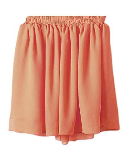 Klassische Elastische Taille Rock (MJY Mode Frauen 's elastische Taille klassische reine Farbe gefaltete kurze Röcke,Orange,Groß)