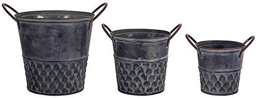 Melrose Int Metall-Eimer, verzinkt, Antik-Silber, dekorativ, rustikal, für drinnen und draußen, Küche, Speisekammer, Badezimmer, Garten, Garage, Pflanzgefäß, Organizer-Set, 3 Stück Garten Bowl-set