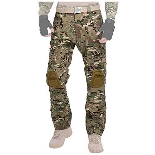 QHIU Taktische Hosen Männer Pants mit Knieschützer Military Armee Combat BDU Camo für Airsoft Paintball Swat Camping Outdoor-Sportarten