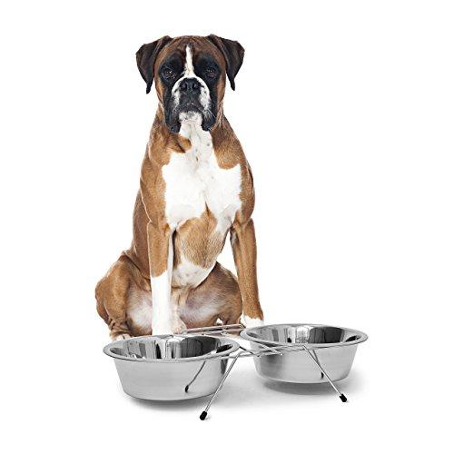 Relaxdays Doppelnapf aus Edelstahl, mit Napfständer, Fressnapf, für Hunde und Katzen, Set, 2,8 l je Futterbar, silber - Großer Hund-wasser-station