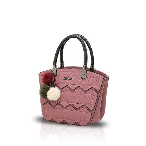 NICOLE&DORIS Nuovo Crossbody Moda Borsa Cartella Alla Spalla Messenger Casual Bag di PU Soft Donne Grigio Rosa