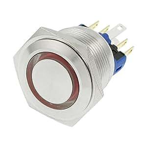 Poussoir momentané 12V LED rouge inoxydable Button Switch 6 bornes à vis