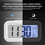 #4: Bincy Smart Digital Alarm Clock with Automatic Sensor Backlight, Snooze Alarm, Date and Temperature for Home and Office (White)
