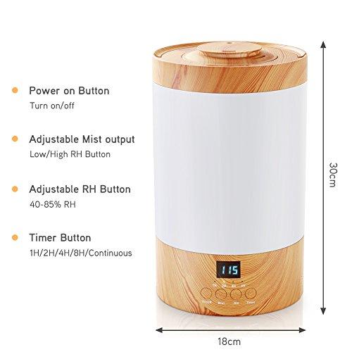 3L Humidificador Silencioso Ultrasónico de REIDEA  Función de Conjunto de Humedad  2 Modos de Niebla  5 Temporizadores  Pantalla LCD Azul para el Hogar  la Oficina  la Habitación para Bebés (Blanco)