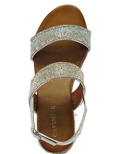 HM918 ARGENTO Scarpa donna sandalo zeppa corda Cafènoir Silber / Schwarz