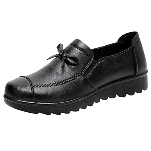 Yvelands Mode Damen Schuh Casual Bogen Erbsen Schuhe Leder Mokassins Slip-On Einzelne ()