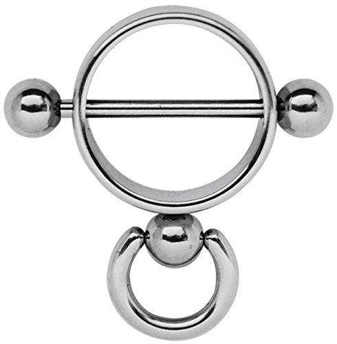 Modern Nature Piercingschmuck Brustpiercing Schmuck Stahl Ring der O, glänzend poliert in 1,6 x 14 mm
