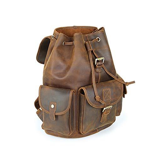 Damen Rucksack, Leder Rucksack Damen Rucksack Rucksack mit Kordelzug Schultaschen Rucksäcke für Damen Mädchen, Hellbraun, Dunkelbraun,Lightbrown