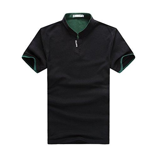 Swallowuk Männer Stehen Kragen Dünne Beiläufige POLO Hemd Schwarz