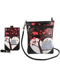 INSTABUYZ Women's Sling Bag With Mobile Sling Bag(Black,S-M-00216-COMB-2-HRT-ELP-BLK)