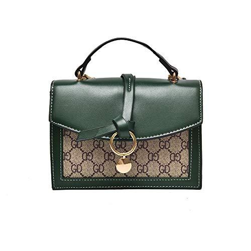 Ldyia Tasche Damen Handtasche Bedruckt alte Blume Mini quadratische Tasche alte Blume einzelne Schulter Diagonale Paket, grün -