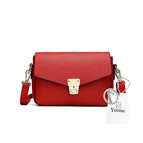 Yoome Elegante Retro Flap Borsa Tracolla Cross Mini Borsa Tracolla Per Borsa Donna Borsa Piccola - Navy Rosso