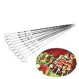 Yardwe 14 STÜCKE Edelstahl Grillspieße Flache Metallspieße Kebab Grillen Spieße Wiederverwendbare BBQ-Sticks Set für Picknick im Freien