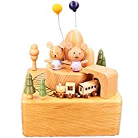 HGWDE 2 Bear Music Box Roller Coaster Music Box Christmas Children Gifts Toy Musical Box (Color : Picture Color, Size : 11X11X15CM)
