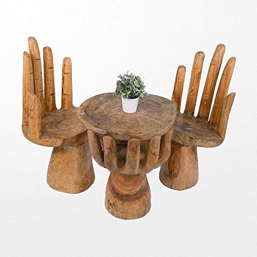 Table en bois massif atypique et ses 2 chaises en bois assorties
