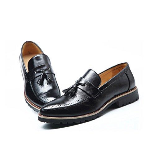 LYZGF Uomini Giovani Primavera Estate Business Casual Retro Moda Scarpe A Punta Nappa In Pelle Black
