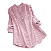 VESNIBA Women's Tops For Stand Collar Long Sleeve Casual Loose Tunic Tops T Shirt Blouse Dress Pink Medium