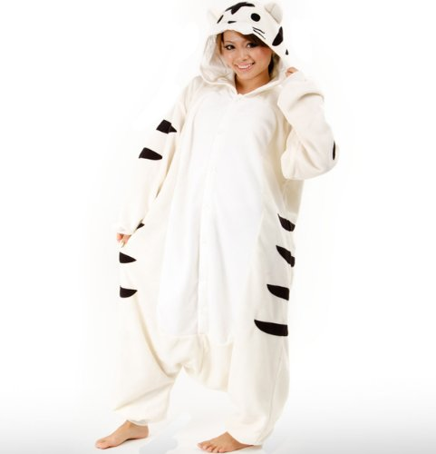 Animals Onesie White Tiger Kigurumi Pajamas White Tiger Costume Cosplay (White Tiger-kostüme Für Erwachsene)
