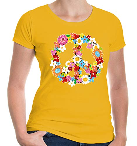 buXsbaum Damen Girlie T-Shirt Peace Flower Symbol | Frieden | M, Gelb