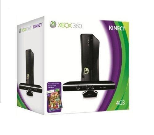Xbox 360 - Konsole Slim 4 GB inkl. Kinect Sensor + Kinect Adventures, schwarz-matt