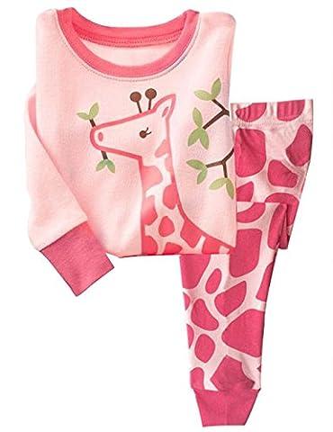 Tkria Girafe Ensemble de Pyjama Fille Manches Longues Deux-Pièces