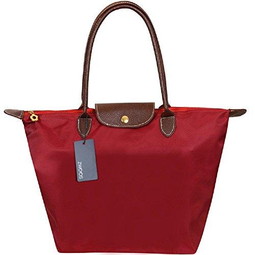Cabas pour Femme Moyen – ZWOOS Pochette sac à Main Sac de Shopping pour Femme (M, Rouge)