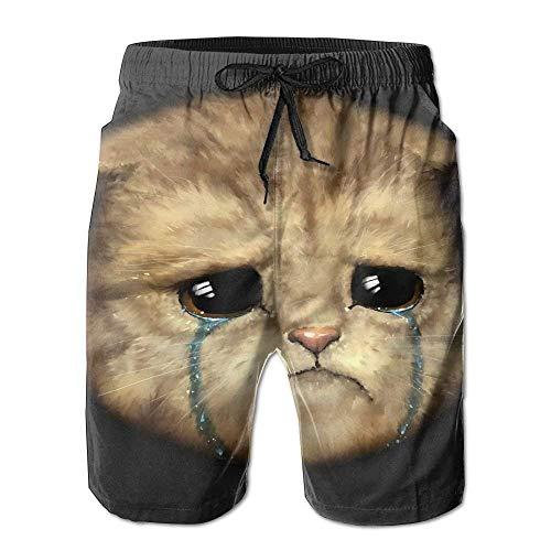 KAKICSA Beach Shorts, Cute Cat Tears Beach Coverup Shorts for Men Boys, Outdoor Short Pants Beach Accessories,Size:M
