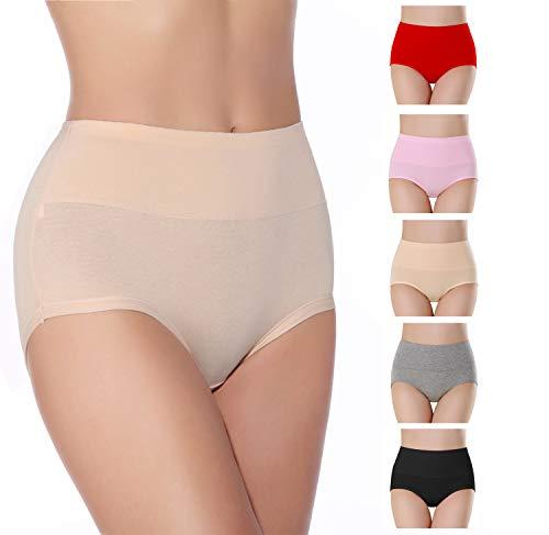 SEXYWG sous-vêtements en Coton Doux pour Femme Slips Stretch Culotte Respirante Taille Haute (Lot de 5)