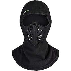 ROCKBROS Cagoule Polaire Masque Tour de Cou Coupe-Vent Thermique Respirant Motif/Filtre pour Moto Vélo Ski Balaclava Hiver Homme Femme Noir