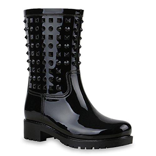 Senhoras Galocha Botas Polonês Botas Sapatos De Chuva Rebites Preta