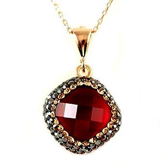 Rosé Silber Roter Erstellt Rubin Stein mit Kristallen Anhänger Halskette 40+5cm Kette – mit Elegante Geschenkbox