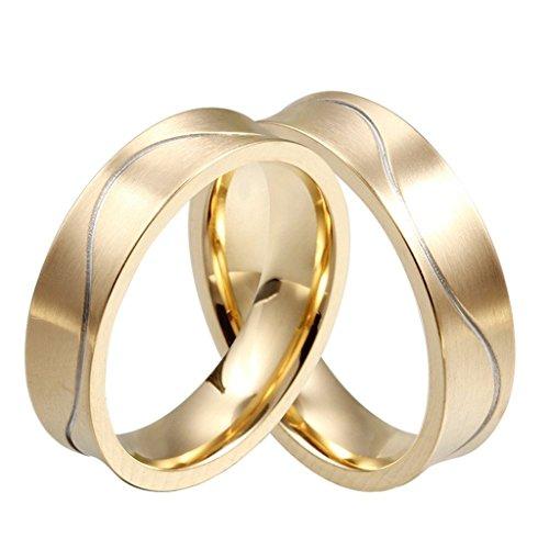 Edelstahl Ringe, Herren Welle Leitung Embossed Gr.60 (19.1) Gold (König Titan Kostüm)