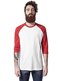 Contrast 3/4Sleeve raglán Tee Shirts Urban Classics Streetwear Hombre, wht/red, Large