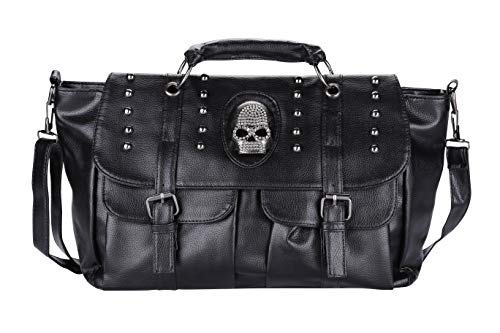 Palin Yee® Frauen Motorrad Hobo Handtasche Punk Stil PU-Leder Skull Schultertasche Tote Taschen, Geldbörse -