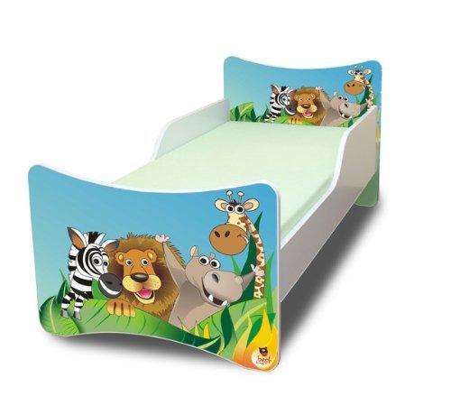 BFK Babybett KINDERBETT mit Schaummatratze mit TÜV ZERTIFIZIERT Jugendbett 70x140 + Matratze + Lattenrost +WANDAUFKLEBER (Zoo)
