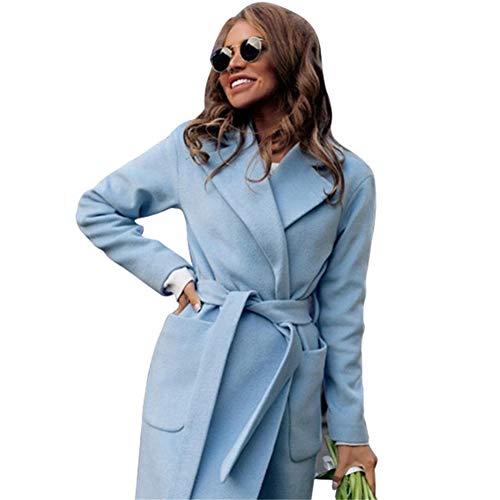 IOSDH8 Umlegekragen LangerMantel Elegante Winter FrauMischung MäntelDünneArt Weibliche Taschen Mantel Oberbekleidung, blau, L - Wolle-mischung Military Mantel