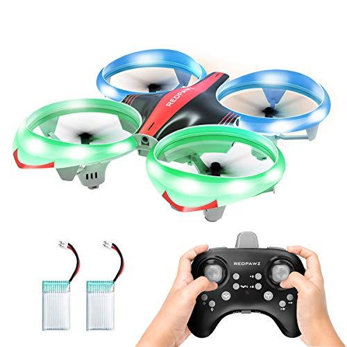 Redpawz LED Drone para Niños, Drone Interactivo Infrarrojo sin Manos con Modo de Desplazamiento / sin Cabeza Una Tecla Fly / Landing RC Quadcopter Aircraft, Modo de 3 Velocidades con 2 Baterías ...