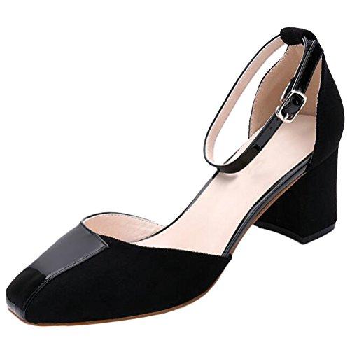 Vogstyle Nuovo Donna Sandali Punta Aperta Alla Caviglia Scarpe Con Cinturino Stile 5-Nero