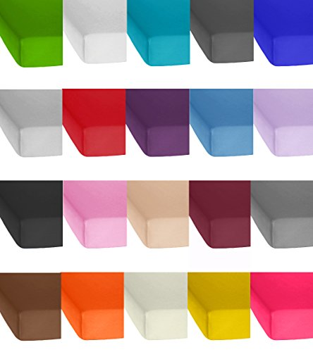 Lenzuolo Standard in Jersey con angoli elasticizzati, in tutte le taglie e colori, 100% cotone, 100%  cotone, turchese, 90 x 200 bis 100 x 200 cm