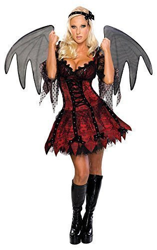 Damen Sexy Demon Fee Vampir Devil Gefallener Engel Halloween + Xl Schwarz Wings Kostüm Kleid Outfit - Rot, Rot, 12-14 (Demon Wings Kostüme)